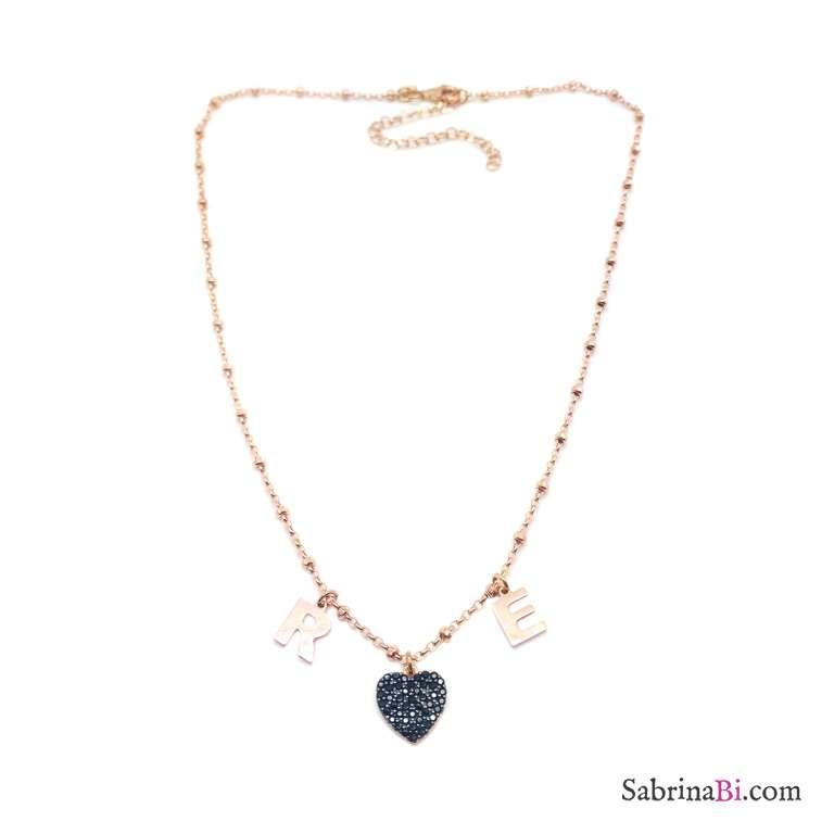 Collana rosario argento 925 oro rosa 2 lettere personalizzate iniziali nome e cuore Zirconi neri