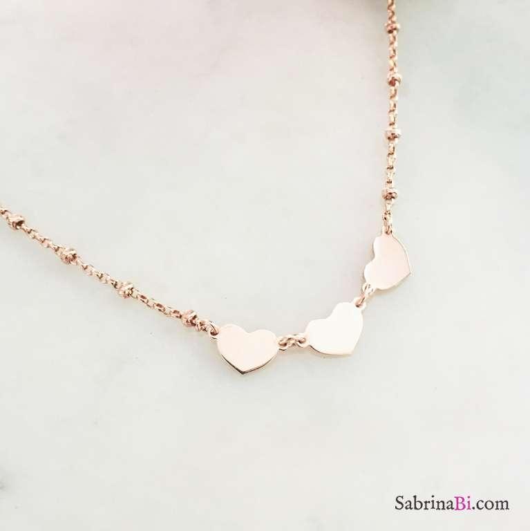 Collana rosario argento 925 oro rosa 3 Cuori