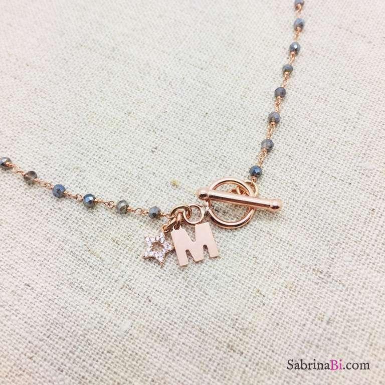 Collana rosario argento 925 oro rosa Aurora