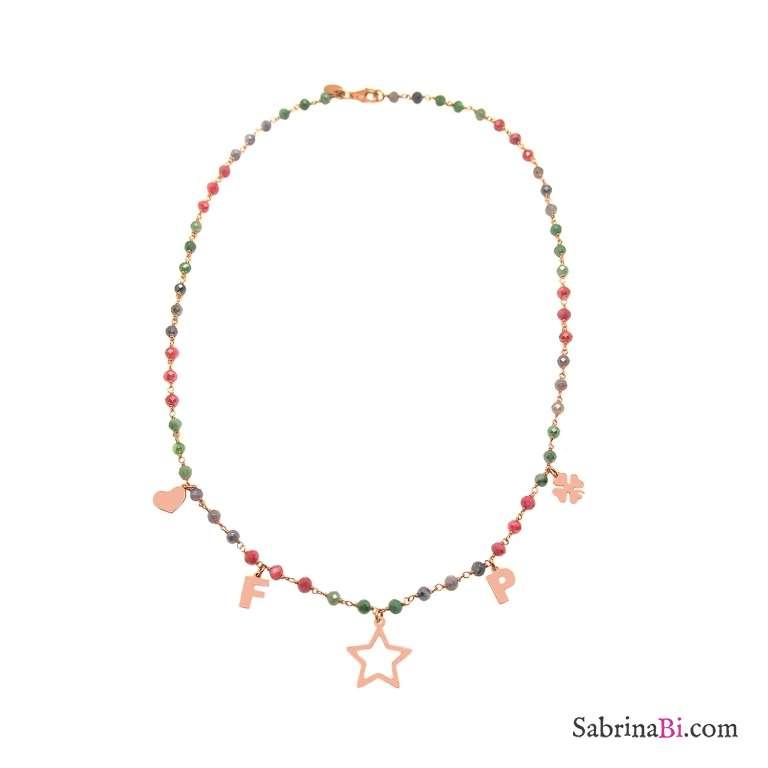 Collana rosario argento 925 oro rosa cristalli multicolor 2 lettere iniziali nome + charms