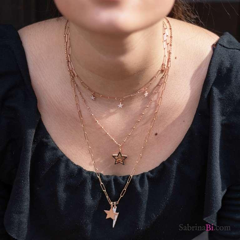 Collana rosario argento 925 oro rosa doppia stella Zirconi neri
