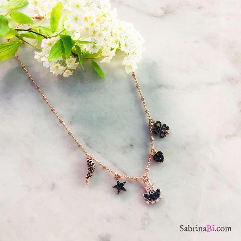 Collana rosario argento 925 oro rosa e charms Principe Ranocchio Zirconi neri