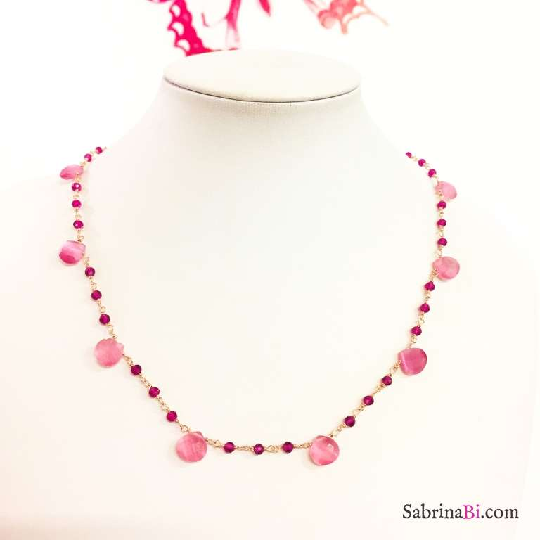Rose gold sterling silver Garnet and Moonstone drop-cut rosary necklace