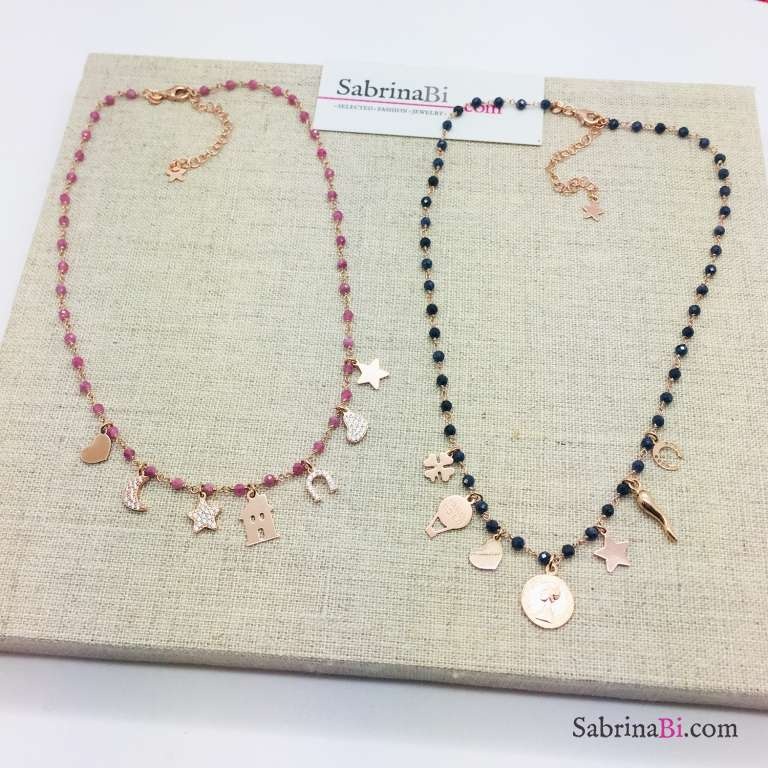 Collana rosario argento 925 oro rosa Lapislazzuli e 7 charms