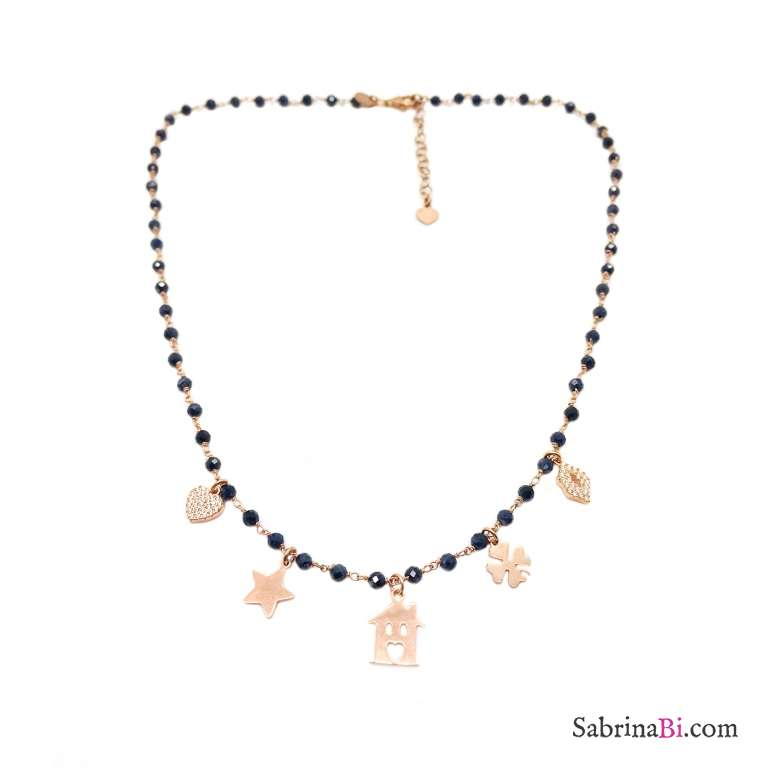 Collana rosario argento 925 oro rosa Lapislazzuli e charms