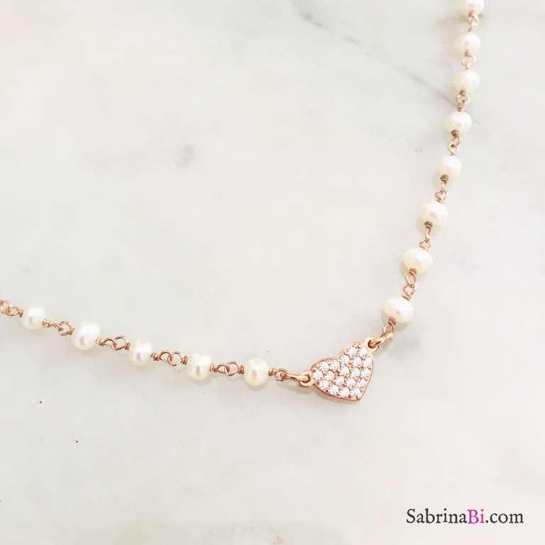 Collana rosario argento 925 oro rosa perle bianche e cuore Zirconi