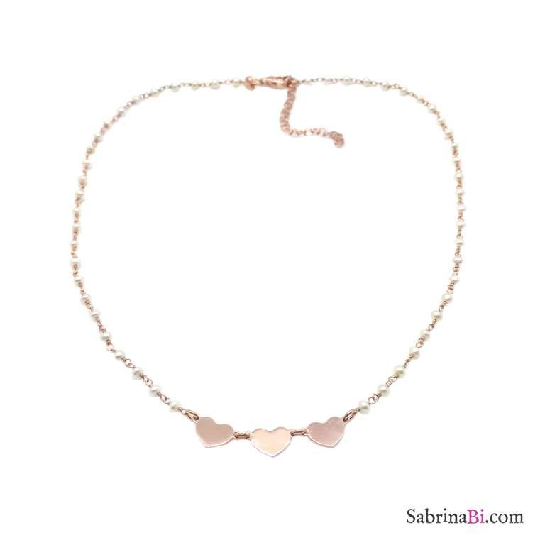 Collana rosario argento 925 oro rosa Perle e 3 cuori