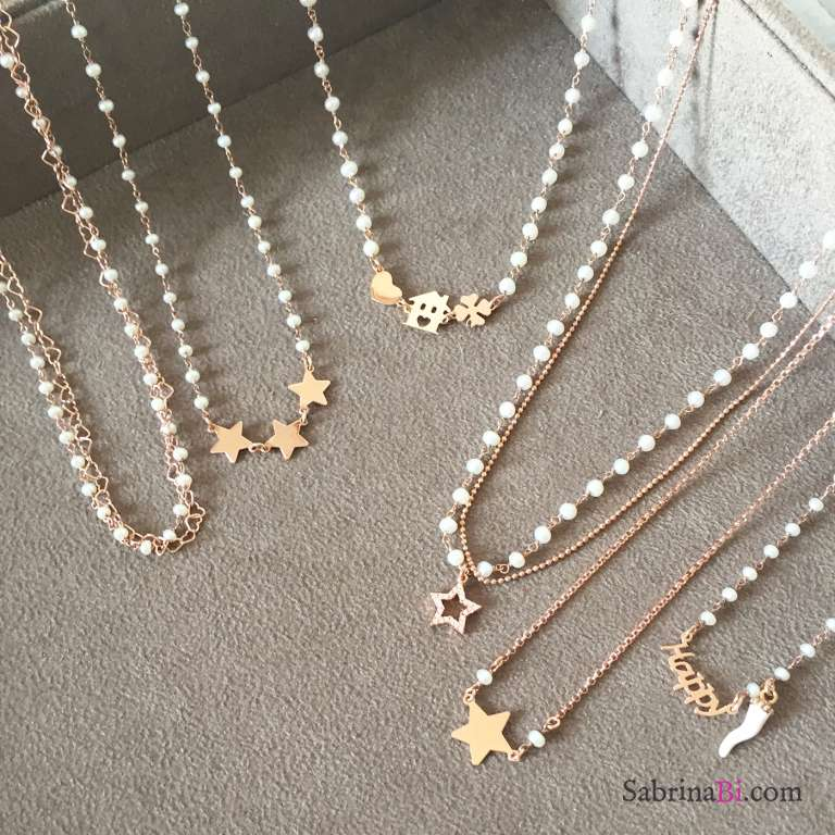Collana rosario argento 925 oro rosa Perle e casetta