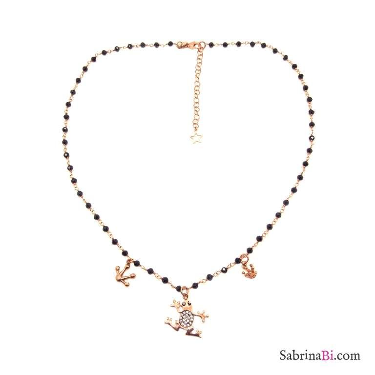 Collana rosario argento 925 oro rosa Spinelli neri e charms Principe Ranocchio