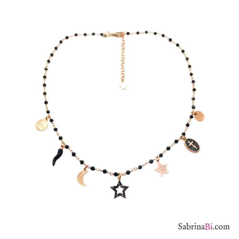 Collana rosario argento 925 oro rosa Spinelli neri e charms