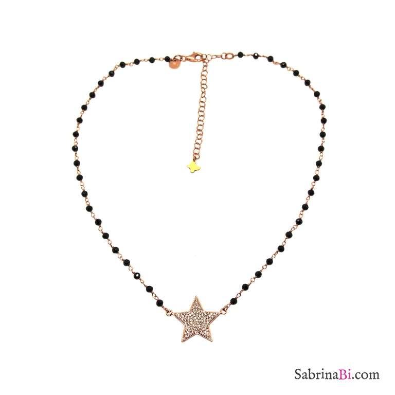 Collana rosario argento 925 oro rosa Spinelli neri e maxi stella Zirconi