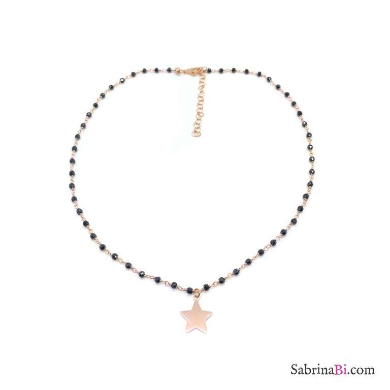Collana rosario argento 925 oro rosa Spinelli neri e stella pendente