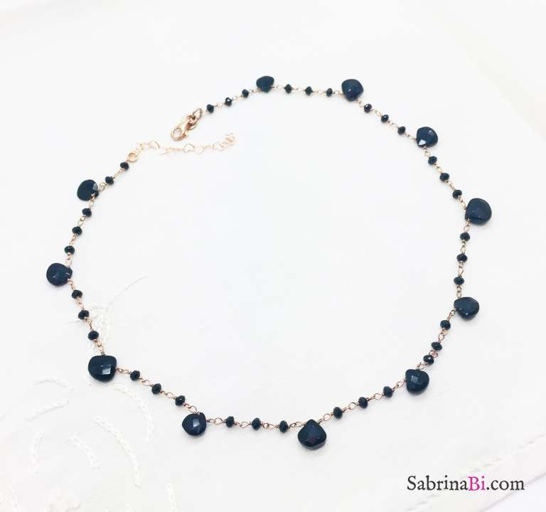 Rose gold sterling silver black Spinels drop-cut rosary necklace