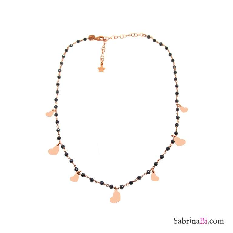 Collana rosario argento 925 oro rosa Tanzanite blu scura e cuori