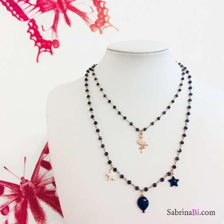Collana rosario argento 925 oro rosa Tanzanite blu scura Fenicottero Zirconi