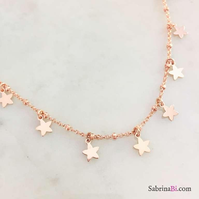 Collana rosario argento 925 oro rosa Tutto Stelle