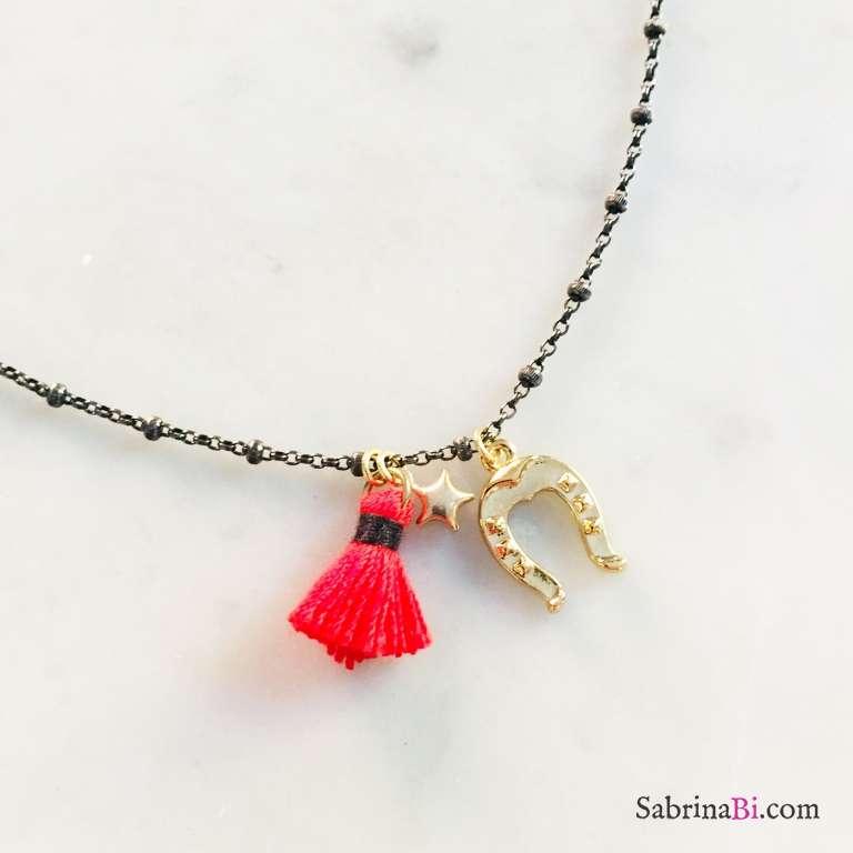 Collana rosario argento 925 rodiato nero Ferro di cavallo e nappina