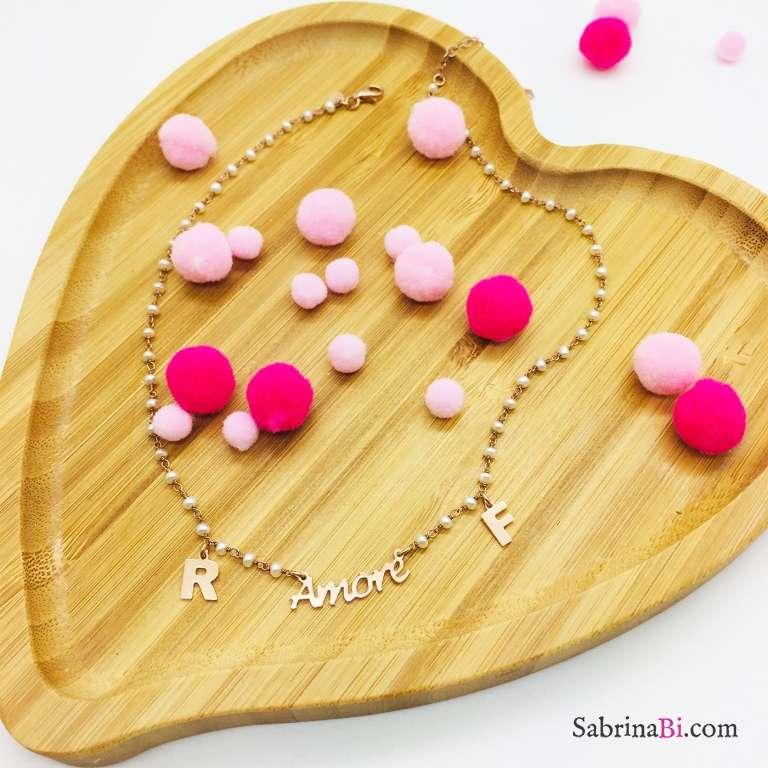 Collana rosario Perle argento 925 oro rosa Amore e lettere