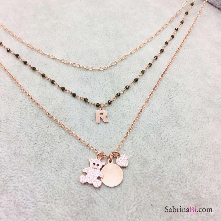Collana tre fili argento 925 oro rosa Anastasia