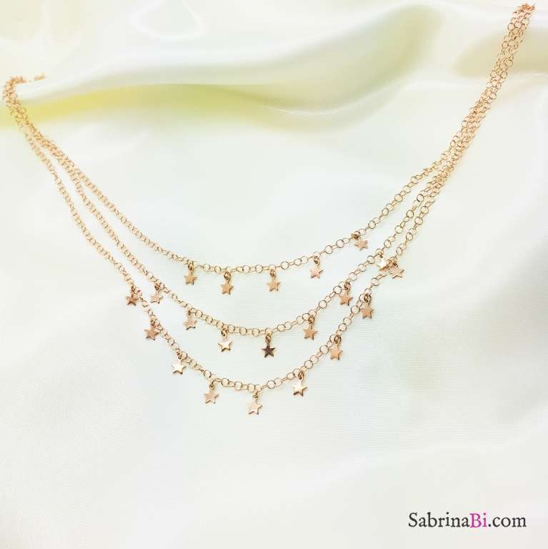 Collana tre fili argento 925 oro rosa Irina