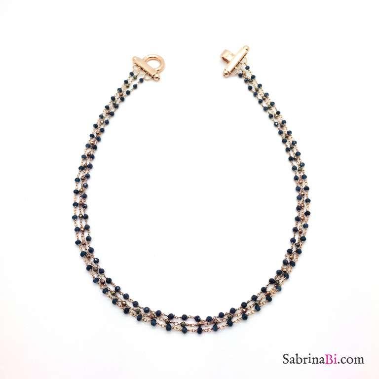 Collana tre fili argento 925 oro rosa rosario bicolore