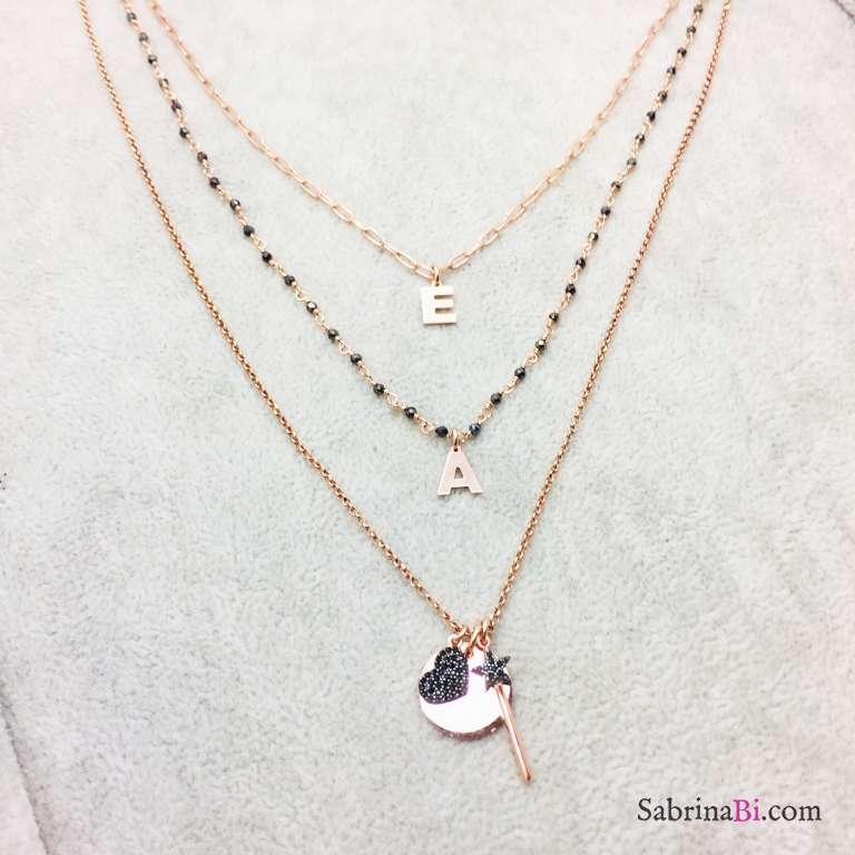 Collana tre fili argento 925 oro rosa Sofia