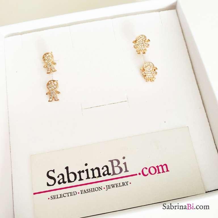 Combo 2 paia orecchini lobo argento 925 oro rosa Bambini
