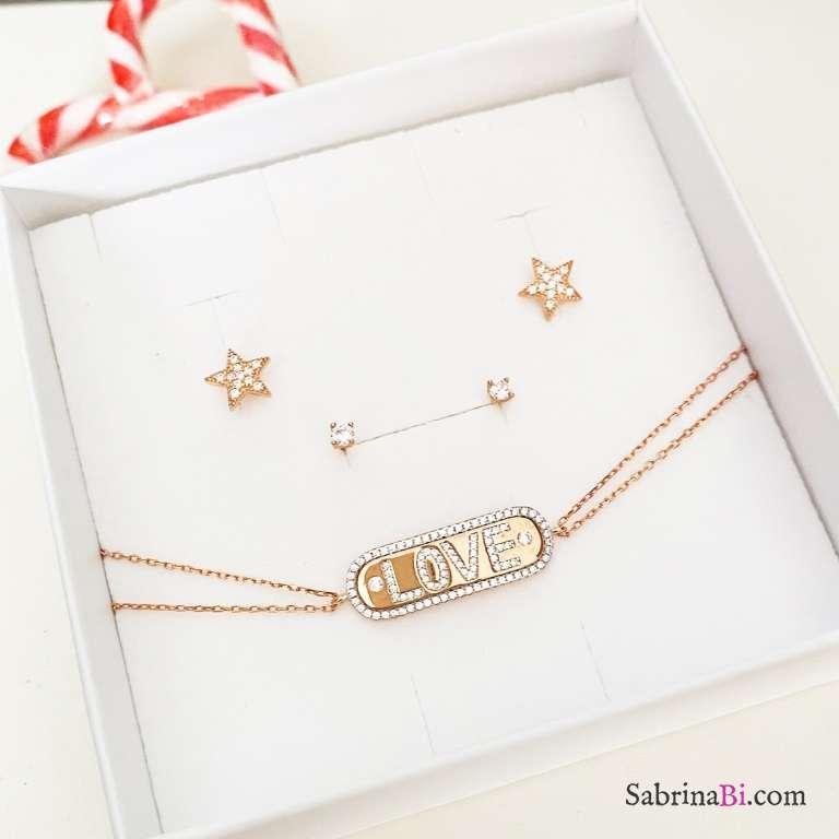 Combo 2 paia orecchini lobo  + bracciale Love argento 925 oro rosa