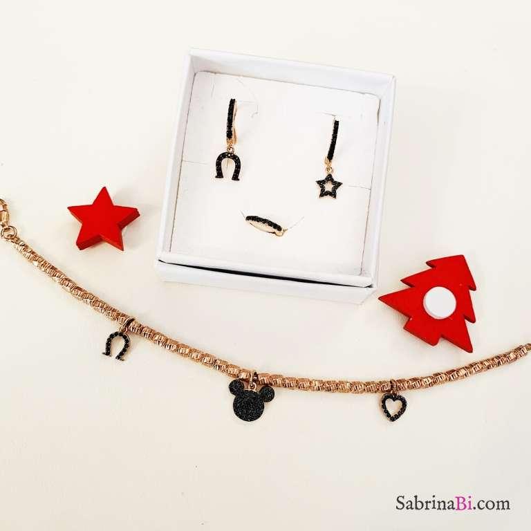 Combo 3 mono orecchini cerchio + bracciale argento 925 oro rosa Topolino