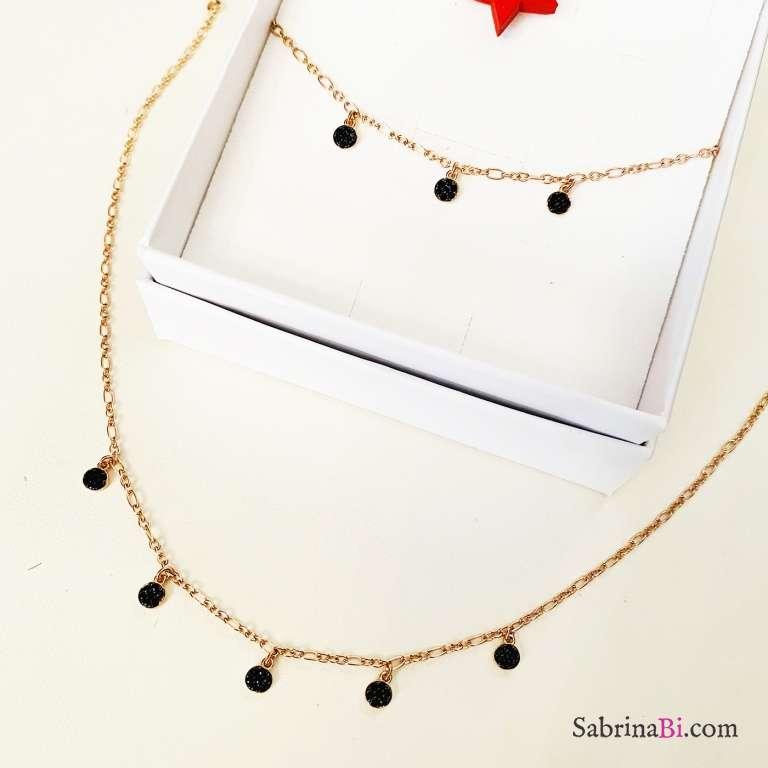 Combo bracciale + collana argento 925 oro rosa Drops