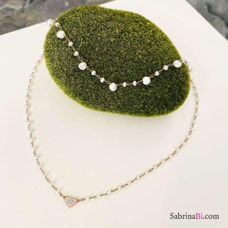 Combo bracciale + collana argento 925 oro rosa Perle e cuore