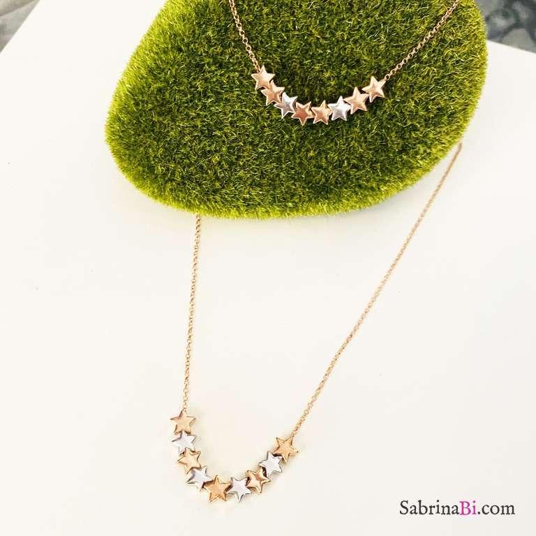 Combo bracciale + collana argento 925 oro rosa Selena