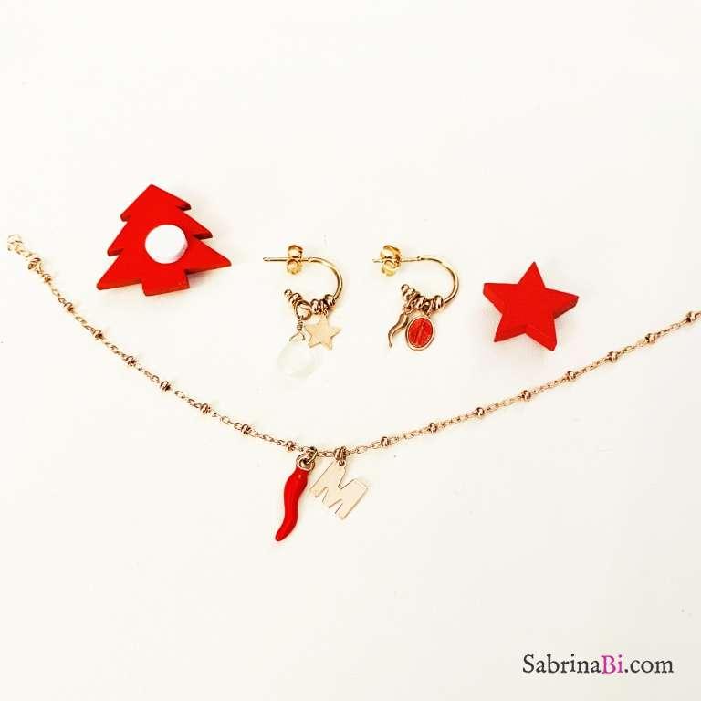 Combo orecchini cerchio + bracciale argento 925 oro rosa I am lucky