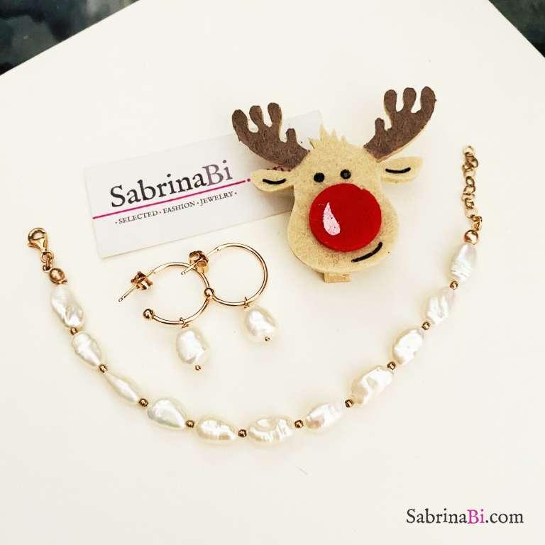 Combo orecchini cerchio + bracciale argento 925 oro rosa Perle