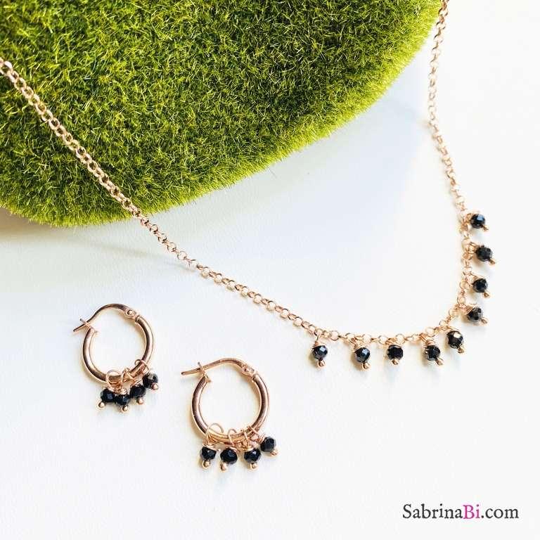 Combo orecchini cerchio  + collana argento 925 oro rosa Clara
