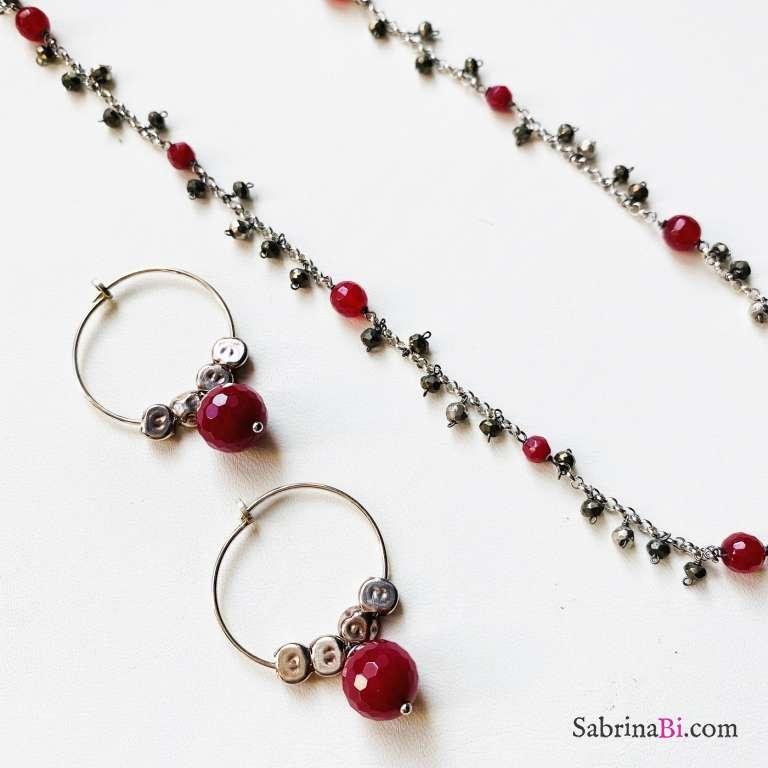 Combo orecchini cerchio  + collana argento 925 Rubino
