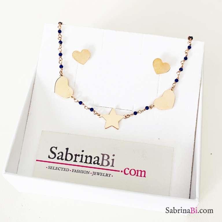 Combo orecchini lobo  + bracciale argento 925 oro rosa Cuori e stella