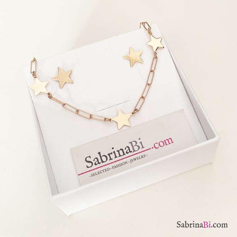 Combo orecchini lobo  + bracciale argento 925 oro rosa Stelle