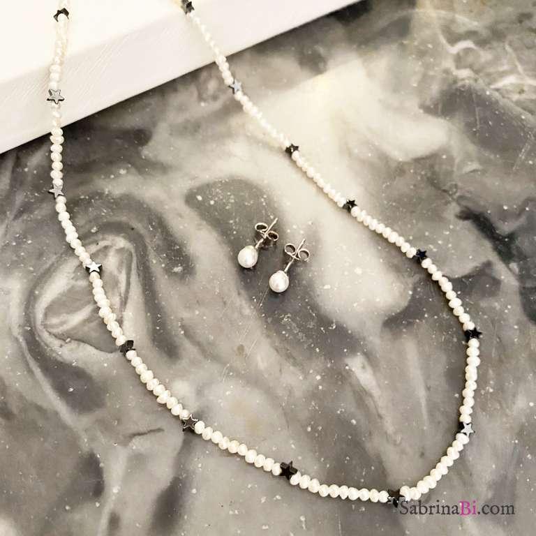 Combo orecchini lobo  + collana argento 925 stelline Ematite
