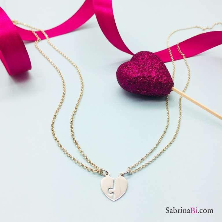 Due collane in argento 925 cuore Lei e Lui