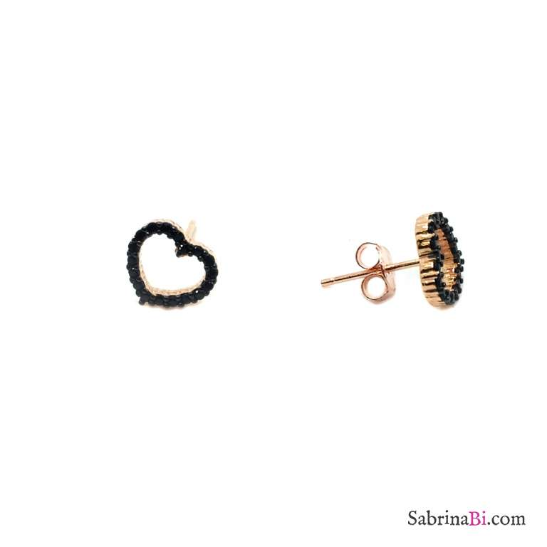 Black Zirconia empty hearts rose gold sterling silver studs