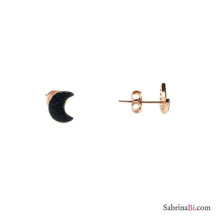 Rose gold sterling silver studs black Zirconia moon