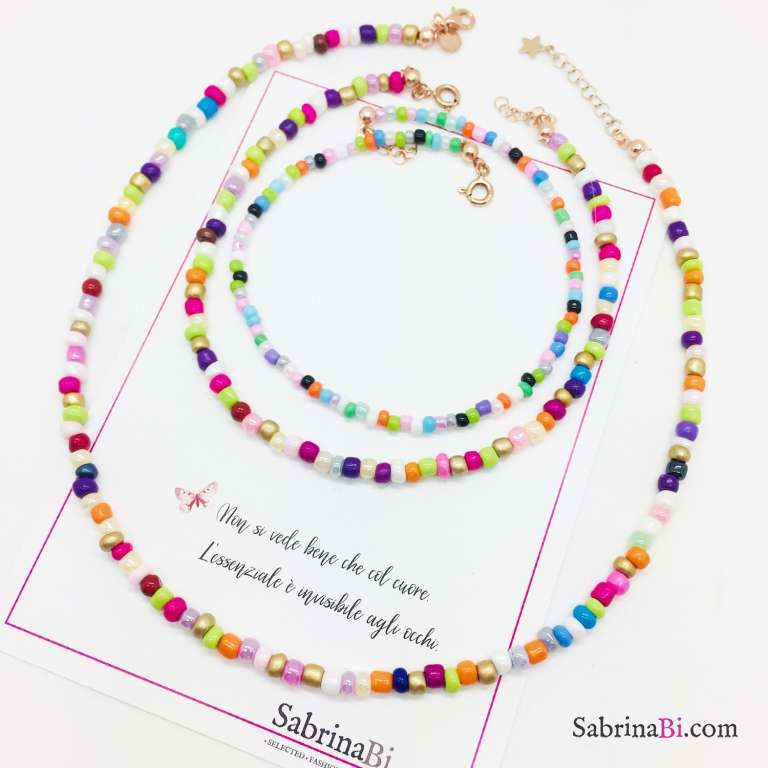 Maxi cavigliera perle di vetro multicolor
