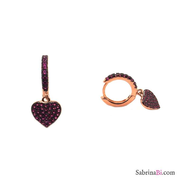 Mini cerchi zirconati argento 925 oro rosa cuore Zirconi rubino