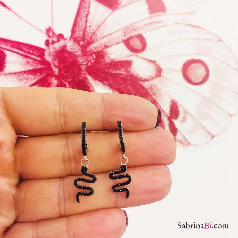 Mini cerchi zirconati argento 925 oro rosa serpente Zirconi neri