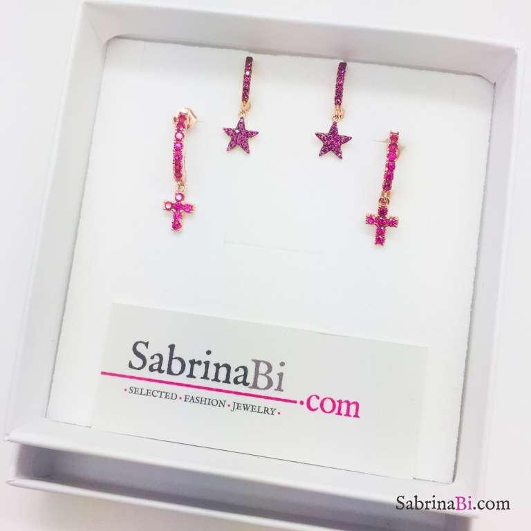 Mini cerchi zirconati argento 925 oro rosa stella Zirconi rubino