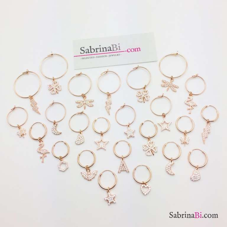 Mono-orecchino a cerchio 1,4cm argento 925 oro rosa Stella Zirconi