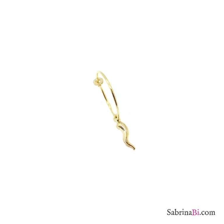 Mono-orecchino a cerchio 1,5 cm argento 925 oro giallo Cornetto