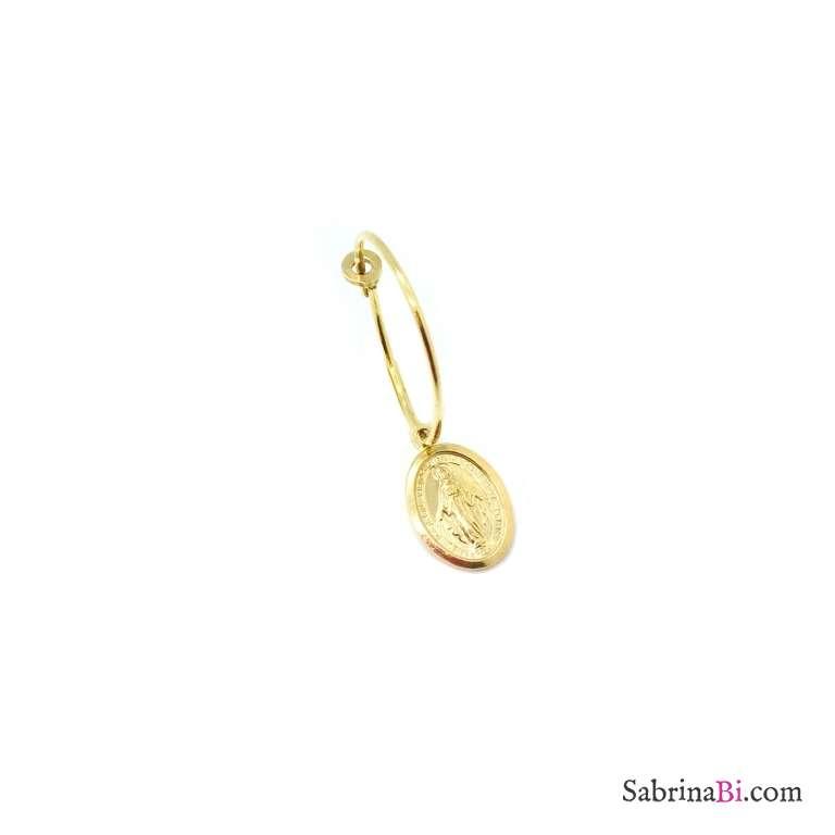 Mono-orecchino a cerchio 1,5 cm argento 925 oro giallo Madonnina