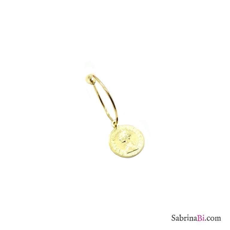 Mono-orecchino a cerchio 1,5cm argento 925 oro giallo moneta